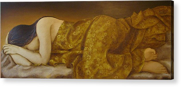 Mary Acrylic Print featuring the painting Mary Magdalene-the Dream by Barbara Gerodimou