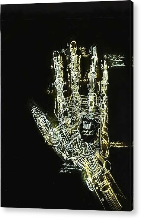Ralph Nixon Jr. Paintings Acrylic Print featuring the drawing Mechanical Hand by Ralph Nixon Jr