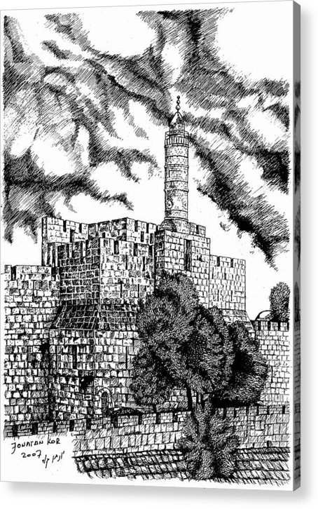 Old Jerusalem Acrylic Print featuring the drawing Migdal David by Jonatan Kor