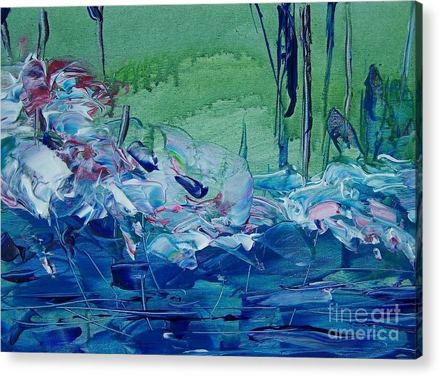 Blues Acrylic Print featuring the painting Mistery Pond by Geraldine Liquidano