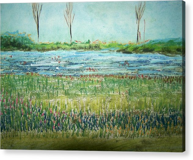 Landscape Acrylic Print featuring the painting Mistery Pond In Orchard Park Ny by Geraldine Liquidano