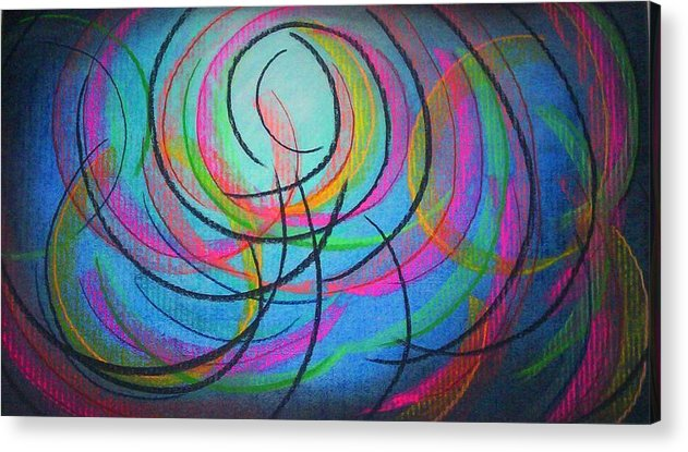 Angela Mustin Acrylic Print featuring the pastel Moodpainting2- Happy Tears by Angela Mustin