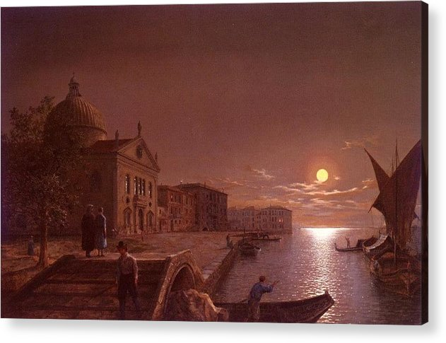 Palace Acrylic Print featuring the digital art Moonlight In Venice Henry Pether by Eloisa Mannion