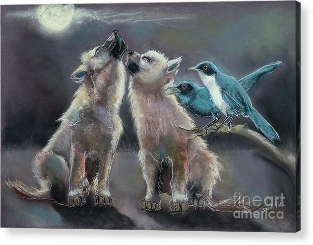 Wolves Acrylic Print featuring the painting Moonlight Serenade by Carol Jobe