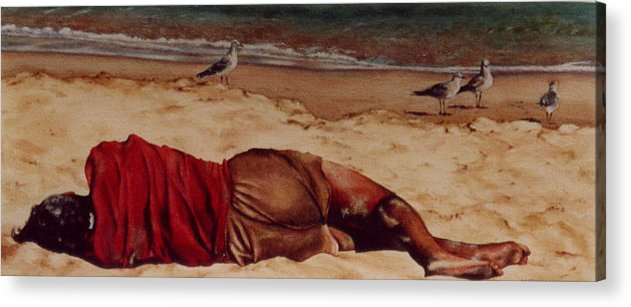 Man Acrylic Print featuring the painting Morning After by Marion Hylton