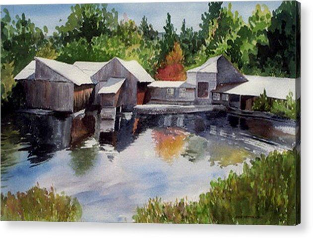 Landscape Acrylic Print featuring the print Moulton's Mill by Anne Trotter Hodge