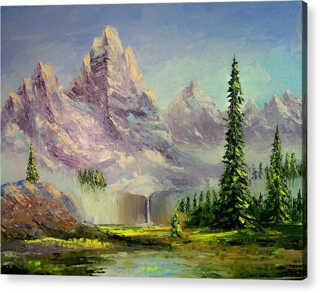 Mountains Water Fall Scenic Acrylic Print featuring the painting Mountain Majesty by Lynda McDonald