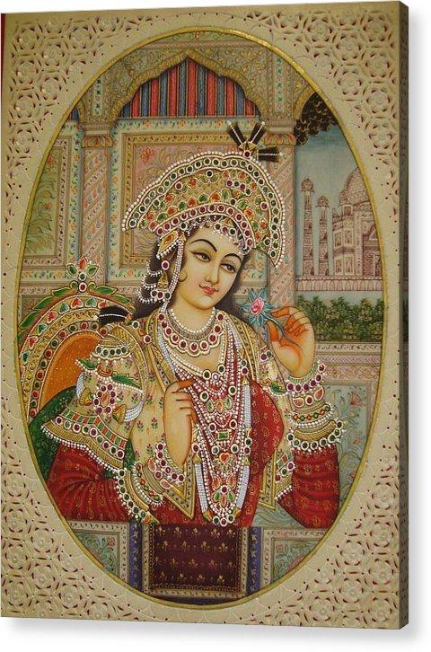 Indian Miniature Acrylic Print featuring the painting Mumtaj by Devendra Sharma
