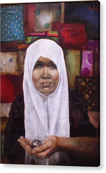 Muslim Acrylic Print featuring the painting Muslim Woman by Ixchel Amor