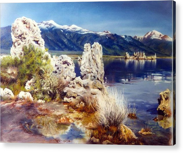 Lake Acrylic Print featuring the painting Nature's Ghosts by Marion Hylton