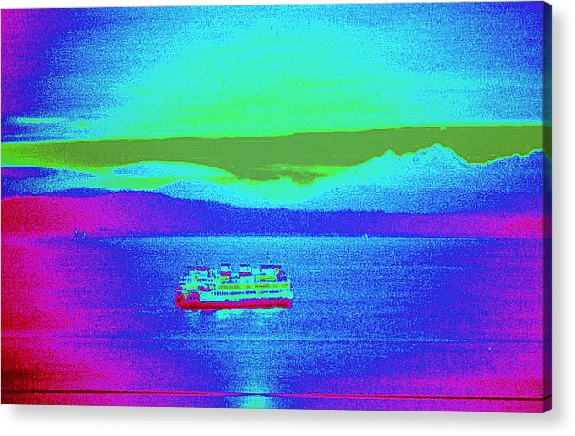 Ferry Acrylic Print featuring the photograph Neon Ferry by Maro Kentros