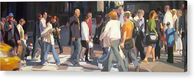 A Crowd Of People Cross A Busy Intersection In New York City. Acrylic Print featuring the painting New York Crosswalk by Merle Keller