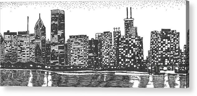 New York Skyline Acrylic Print featuring the drawing New York by Jo Anna McGinnis