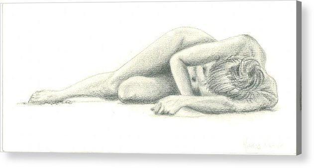 Nude Acrylic Print featuring the drawing Nude On The Beach by Marina Owens