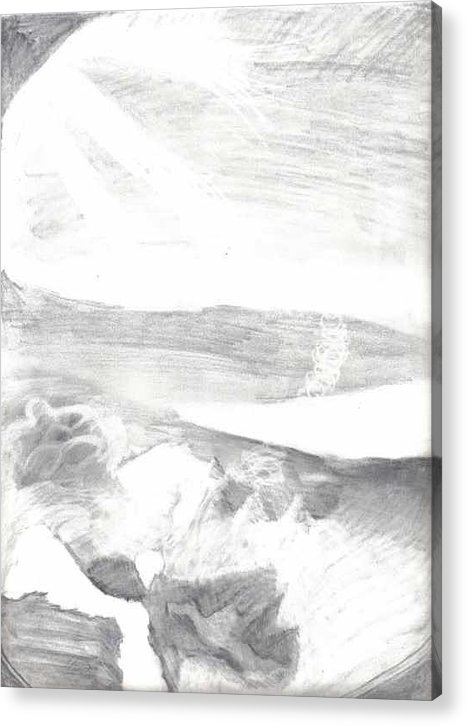 Sky Acrylic Print featuring the drawing observation - Out the airplane window by Katie Alfonsi
