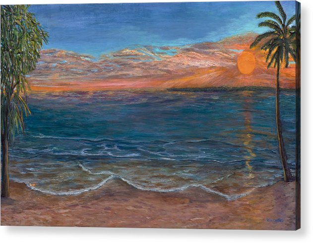 Beach Acrylic Print featuring the painting Ocean Sunset Series- Solitude II by Rita Cortesi