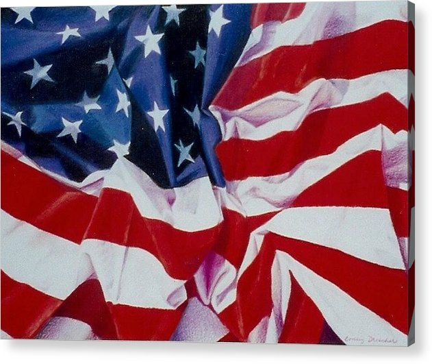 Red Acrylic Print featuring the painting Old Glory 1 by Constance Drescher