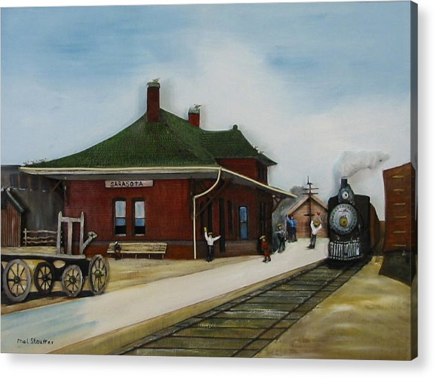 Train Acrylic Print featuring the painting Old Train Station by Mel Stauffer
