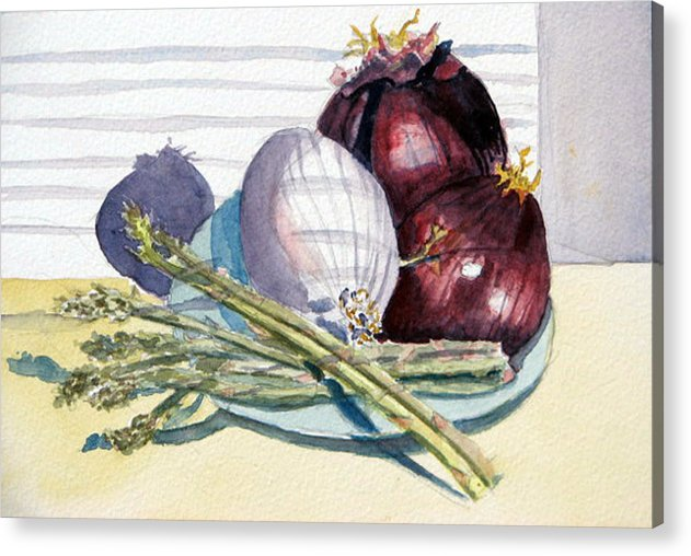 Still Life Acrylic Print featuring the painting Onions And Asparagus - Miniature by Libby Cagle