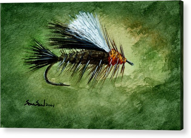 Fishing Fly Acrylic Print featuring the painting Orange Stimulator by Sean Seal