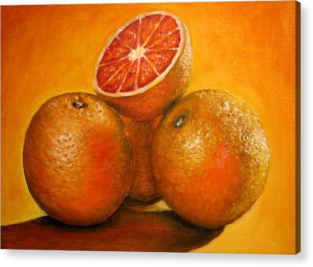 Oranges Acrylic Print featuring the painting Oranges Original Oil Painting by Natalja Picugina