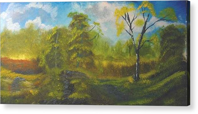 Peaceful Land Bryan Perry Acrylic Print featuring the painting Peaceful Land 12x24 By Artist Bryan Perry by Bryan Perry