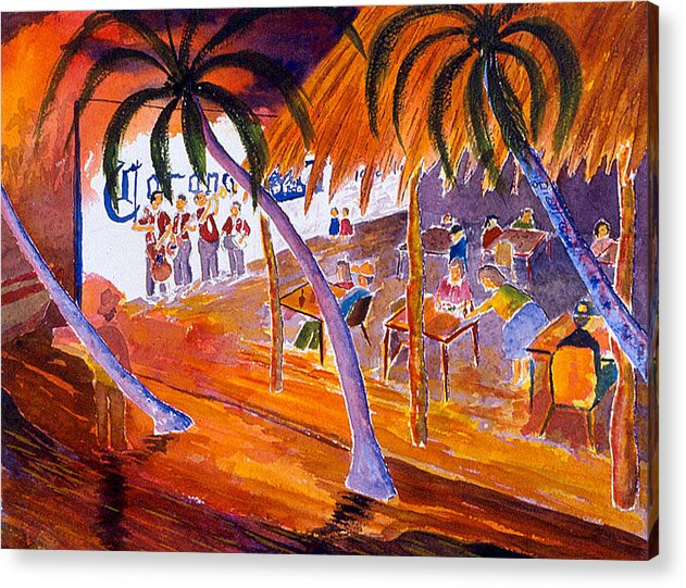 Palapa Acrylic Print featuring the painting Pepe's Mother's Resturante by Buster Dight