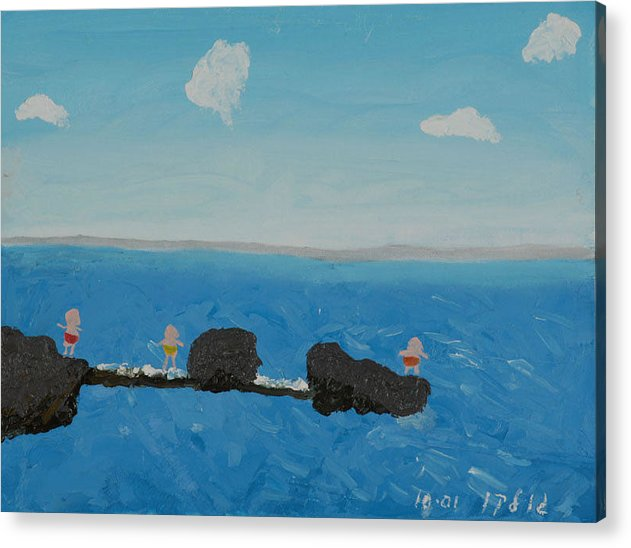 Water Acrylic Print featuring the painting Playing On The Pier by Harris Gulko
