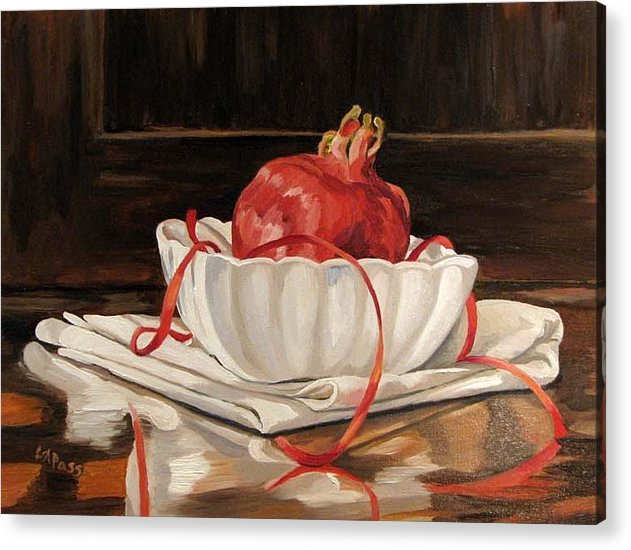 Pomegranate Acrylic Print featuring the painting Pomegranate In White by Cheryl Pass