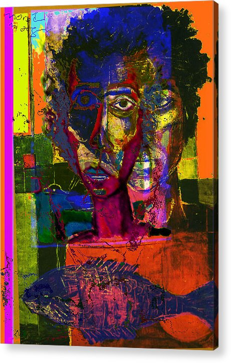 Colors Acrylic Print featuring the painting Prophet II by Noredin Morgan