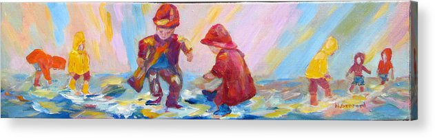 Kids Acrylic Print featuring the painting Puddle Jumpers II by Naomi Gerrard