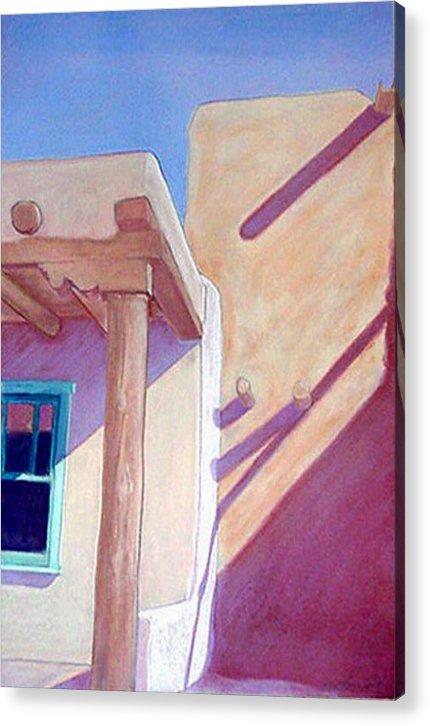 Pueblos Acrylic Print featuring the pastel Pueblo Shadows by Jo Thompson