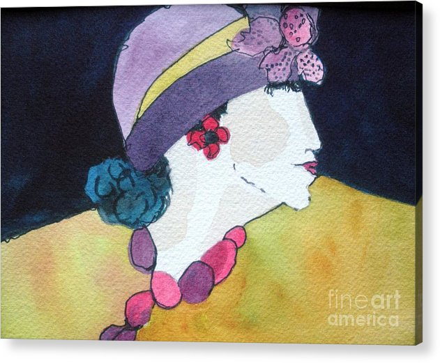 Lady In Hat Acrylic Print featuring the painting Purple Hat by Jane Ferguson