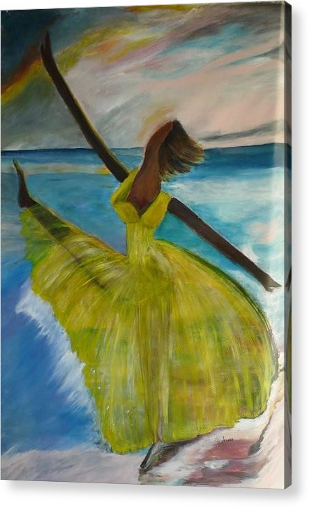 Ballet Dancer Acrylic Print featuring the painting Reaching For The Stars by Nalini Bhat