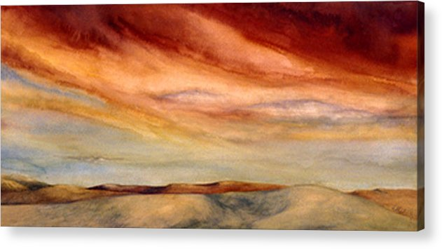 Watercolor Acrylic Print featuring the painting Red Desert by Nancy Ethiel