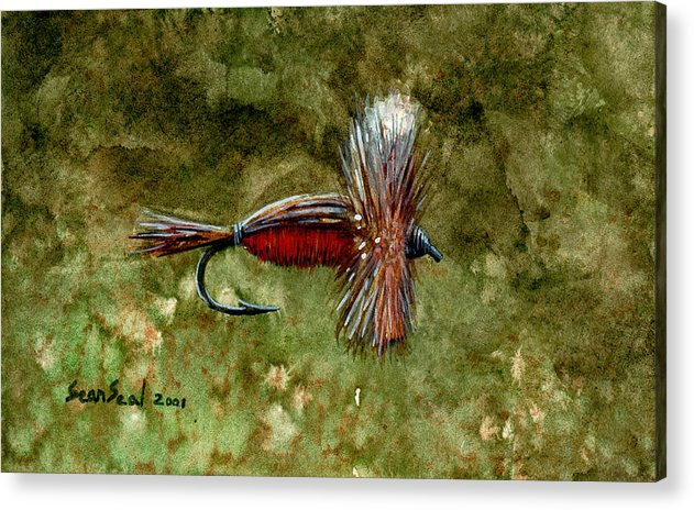 Fishing Fly Acrylic Print featuring the painting Red Humpy by Sean Seal