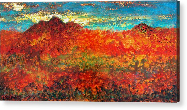 Mountain Acrylic Print featuring the mixed media Red Mountain by Marie Baehr