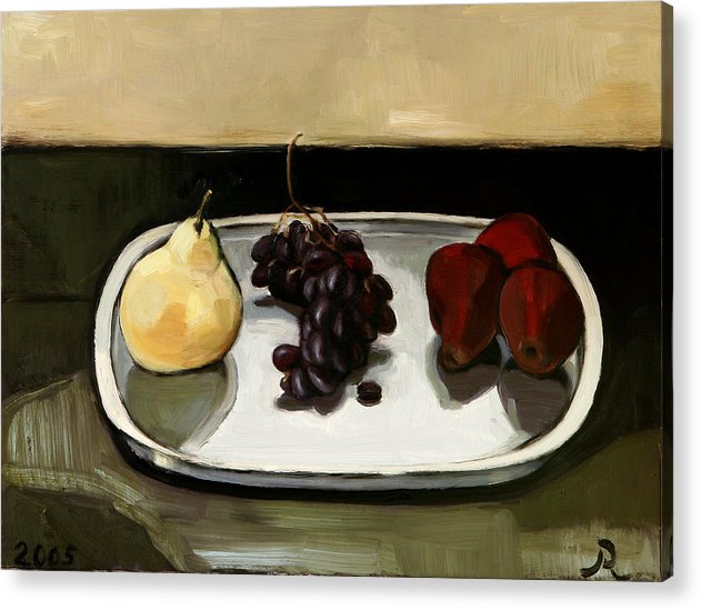 Still-life Grapes Pears Acrylic Print featuring the painting Red Pears by Raimonda Jatkeviciute-Kasparaviciene