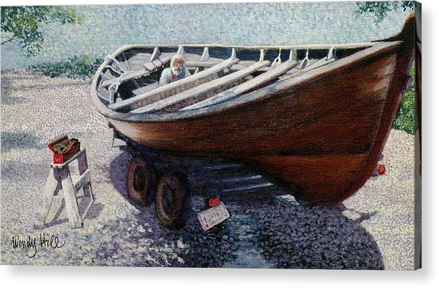 Boat Acrylic Print featuring the painting Repairing The Whaler In Boothbay by Wendy Hill