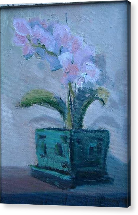 Sill Life Given As Gift For Kaiser Permanente Retirement..the Orchid Was Given To My Wife Shirl..  Acrylic Print featuring the painting Retirement Orchid...SOLD by Bryan Alexander