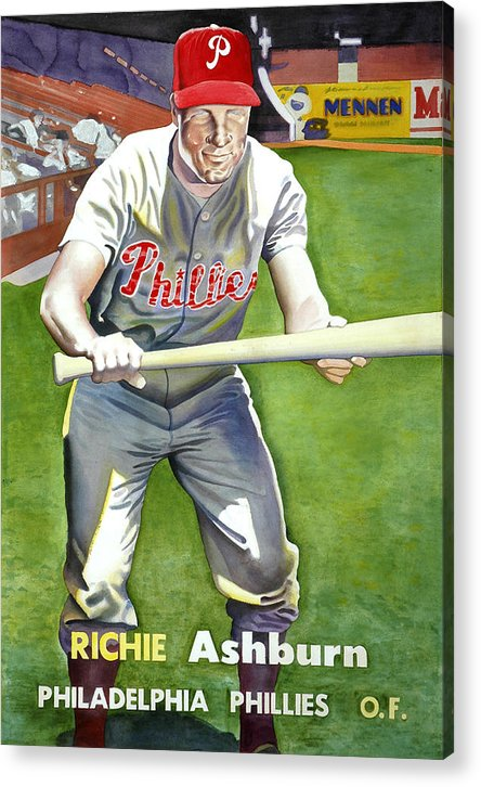 Baseball Art Acrylic Print featuring the painting Richie Ashburn Topps by Robert Myers