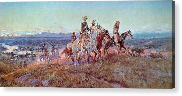 Riders Of The Open Range (oil On Canvas) By Charles Marion Russell (1865-1926) Acrylic Print featuring the painting Riders Of The Open Range by Charles Marion Russell