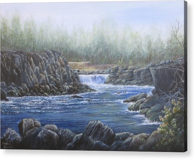 Landscape Acrylic Print featuring the painting Rocky Gorge by Sheila Banga