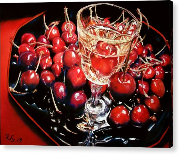 Still Life Acrylic Print featuring the painting Salut Mon Cherie by Rose Sciberras