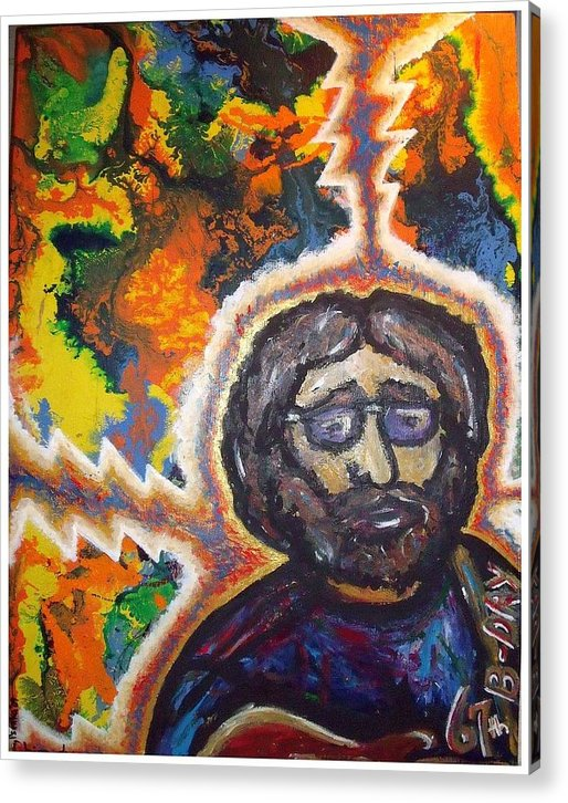 Jerry Garcia Acrylic Print featuring the painting Salute To Jerry by Steve Weber