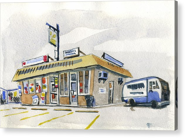 Urban Acrylic Print featuring the painting Sandwich Shop by Ashley Lathe
