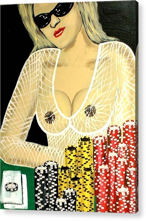 Hot Acrylic Print featuring the painting Sexy Poker Girl by Teo Alfonso