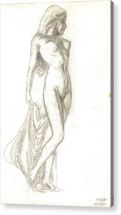 Nudes Acrylic Print featuring the painting Sketch Model 9 by Benito Alonso