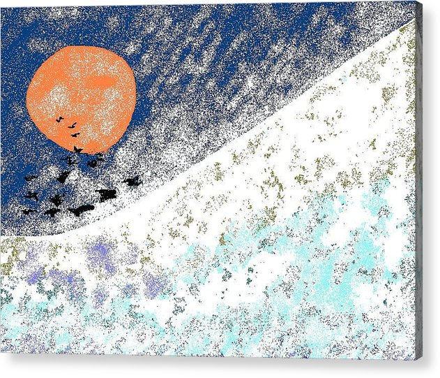 Blizzard Acrylic Print featuring the digital art Snowbirds by Beebe Barksdale-Bruner