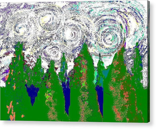 Acrylic Print featuring the digital art Starry Night by Beebe Barksdale-Bruner